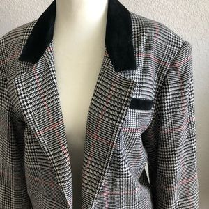 Vintage black&white gingham plaid boxy blazer coat